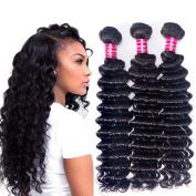 Zorssar Hair 3 Bundles Brazilian Deep Wave Virgin Hair Extensions 16 18 50cm 10A Unprocessed Human Hair Weave Natural Colour Can be Dyed
