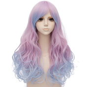 Pink Mixed Blue Ombre Long 60cm Curly Heat Resistant Cosplay Wig Fashion Lolita Women's Party