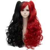 Red Mixed Black Long 80cm Curly With Ponytails Heat Resistant Cosplay Wig Fashion Lolita Women's Party