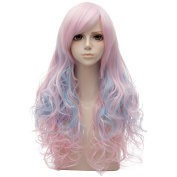Light Pink Mixed Blue Long 70cm Curly Heat Resistant Cosplay Wig Fashion Lolita Women's Party