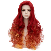 Red Mixed Yellow Long 80cm Curly Heat Resistant Cosplay Wig Fashion Lolita Women's Party