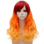 Red Mixed Orange Medium 60cm Curly Heat Resistant Cosplay Wig Fashion Lolita Women's Party