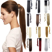 FRISTLIKE 60cm Wrap Around Synthetic Ponytail Clip in Hair Extensions One Piece Magic Paste Pony Tail Long Wavy Soft Silky for Straight Hair Piece