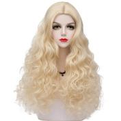 TOP-MAX Light Blonde Medium 60CM Curly Heat Resistant Lolita Fashion Women Cosplay Wig + Wig Cap