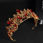 Jovono Vintage Bridal Wedding Crown With Red Rhinestone Baroco Style for Women