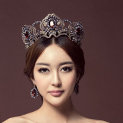 Jovono Vintage Bridal Wedding Crown Earring Set With Rhinestone Baroco Style for Women and Girls