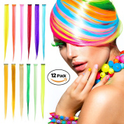 Colour Hair Extensions, Ezire 60cm 12-Colour Party Highlights Clip in Synthetic Hair Extensions 12 PCs Colourful Straight Hairpieces