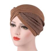 ChainSee Women Lady Beanie Hat Muslim Ruffle Cancer Chemo Hat Scarf Turban Head Wrap Cap