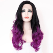 eNilecor Purple Red Wig Lace Front Wig 60cm Long Two Tone Ombre Wavy Wig Synthetic Wig for Women