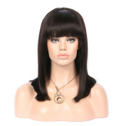 Oulaer Short Bob 13x 6 lace Front Wigs 130% Density Brazilian Virgin Human Hair Wigs Pre Plucked Silky Straight Full Lace Wigs With Bangs for Balck Women 25cm Natural Colour