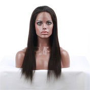 100% Human Hair Wig Lace Front Wigs Brazilian Virgin Hair Full Lace Wigs 130% Density Light Yaki Natural Colour