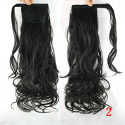 Mangadua 60cm Wrap Around Synthetic Ponytail Clip in Hair Extensions One Piece Paste Pony Tail Long Wavy Curly Soft Silky