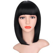 AISI HAIR Short Bob Wigs With Bangs Black Synthetic Straight Hair Wigs Neat Bang For Women African American Short Wigs