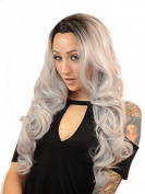 Gigi Long Grey Curly Lace Front Wig | Dark Root Effect | Neutral Lace | Heat Styleable