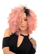 Fleur Mid Length Spiral Thick Afro Wig | Mini Lace Wig | Pastel Pink Wig with Dark Root Effect