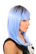 Nikki Shoulder Length Pastel Blue Straight Fashion Wig   Sweeping Fringe   Dark Root Effect