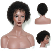 LaaVoo Kinky Curly Glueless Pre Plucked Natural Hairline 130% High Density Human Hair Full Lace Pixie Cut Short Wigs with Baby Hair for Black Women Natural Colour 20cm