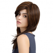 Asifen 60cm Long Brown Mixed Yellowish-brown Wigs Heat-Resistant Synthetic Daily Use Wigs for Women