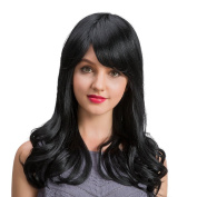 BLONDE UNICORN Jet Black Long Curly Natural Hair with Side Bangs Wigs for Women