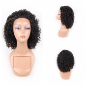 HAIR WAY Kinky Curly Lace Front Wigs Heat Resistant Fibre Synthetic Lace Wigs for Daily Wear Soft Glueless Hair Replacement Wigs Heavy Density for Women Half Hand Tied #1b/30 colour 36cm