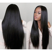 Synthetic Hair Lace Front Wig Straight Hair Wigs with Baby Hair For African Americans Kanekalon Natural Colour 70cm