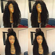 Curly Human Hair Full Lace Wig for Black Women Natural Colour Kinky Curly Brazilian Virgin Hair Wig 150% Density 41cm