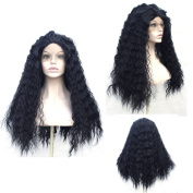 V'NICE Natural Black Loose Curly Wave Wigs Synthetic Lace Front Wigs Heavy Density Glueless Wig for Women Synthetic Wigs 22-60cm
