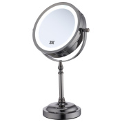 15cm 3x Magnification Black Nickel finished LED Lighting table mirror 360° Cosmetic Makeup Mirror Double side mirror ALHAKIN