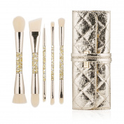 amoore Dual End Makeup Brushes with PU Leather Case makeup brush set foundation brush powder brush for blush eye shadow eyelash eyebrow and lip