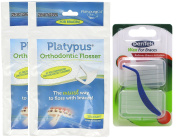 Platypus Ortho Flosser (2 Packs of 60), & With Dentek Wax for Braces