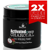 Premium Teeth Whitening Activated Charcoal Powder made from Coconut Shell – Eliminates Bad Breath, Coffee & Tea Stains, Oral Germs – Organic, Natural and Pure Product with Charcoal Strips 60g