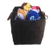 "38cm x 38cm x 14"" Storage Basket Handmade Felt Storage Baskets Bins with PU Handles for Clothes Hamper Toys Nursery Kid's Room Storage"