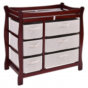 New MTN-G Cherry Sleigh Style Baby Changing Table Nappy 6 Basket Drawer Storage Nursery