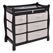 New MTN-G Black Sleigh Style Baby Changing Table Nappy 6 Basket Drawer Storage Nursery