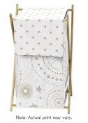 Blush Pink, Gold, Grey and White Star and Moon Baby Kid Clothes Laundry Hamper for Celestial Collection by Sweet Jojo Designs