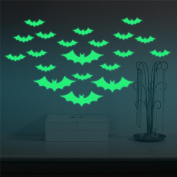 Bat Wall Stickers, Keepfit Halloween Glowing Bat Decals for Kids Room Decoration Costume Partycor for Room and Costume Party
