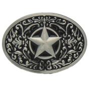 Floral Etched Texas Deputy Sheriff Badge 5 Point Star Belt Buckle Western Cowboy