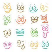 BIBITIME A Set(16 pcs) Funny Expression Sticker for Laptop Case Cup Bottle Kitchen Refrigerator Door Window Children Kids Room Nursery Wall Decor Decal Small Size