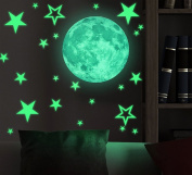 Marsway Removable 30cm Moon Stars Glow in the Dark Sticker Night Luminous Kids Room Wall Decal Stickers
