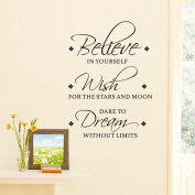 BIBITIME Believe IN YOURSELF Wish FOR THE STARS And MOON DARE TO Dream WITHOUT LIMIT Sayings Stickers Inspirational Quotes Wall Decals for Classroom Children Bedroom Kids Room Decor