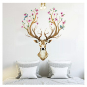 Wall Sticker ,3D Plum flower deer Wall Stickers For kids rooms living room bedroom Home Decor DIY Decoration PVC Removable Waterproof