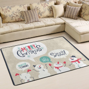 ALAZA Super Comfortable Anti-slip Christmas Card With Snowman Area Rugs/Floor Mat/Cover Carpets with Small Amount of Memory Foam for Living Room/bedroom/Dining/Kids/Home Decorate 0.9m x 0.6m