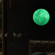 3D Large Moon Fluorescent Wall Sticker Removable Glow In The Dark Sticker,30cm