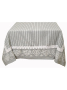 montemaggi Heart Tablecloth with Trina and Edge 4 Sides, 100% Cotton, Grey/White, 140 x 180 x 0.3 cm