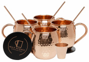 Mule Science Moscow Mule Copper Mugs - Set of 4 - 100% HANDCRAFTED - Pure Solid Copper Mugs 470ml Gift Set with BONUS