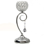 VINCIGANT Valentines Day Decoration Crystal Candle Holder for Dinning Room Table Centrepieces,Silver Candle Lamp