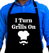 Men's BBQ Apron I Turn Grills On Large Funny Apron Gift for Man