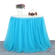 Suppromo 3 Yards High-end Gold Brim 3 Layer Mesh Fluffy Tutu Table Skirt Tulle Tableware For Party,Wedding,Birthday Party & Home Decoration (L9