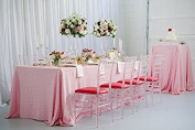TRLYC 150cm x 300cm Champagne Pink Rectangular Sequin Tablecloth