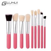 Snowfoller Makeup Tools Cosmetic Makeup Brush Blusher Eye Shadow Brushes Set Kit Pink Handle Silver Tube White Hair Makeup Brush 7PCS